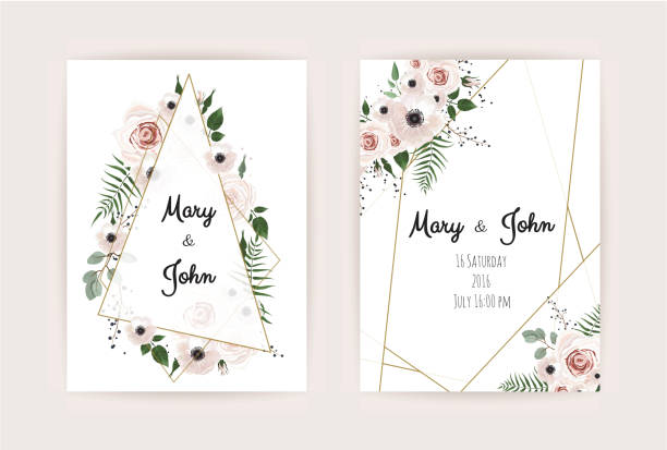 Invitation de vecteur avec des éléments floraux à la main. Cartes d'invitation de mariage avec les éléments floraux - Illustration vectorielle