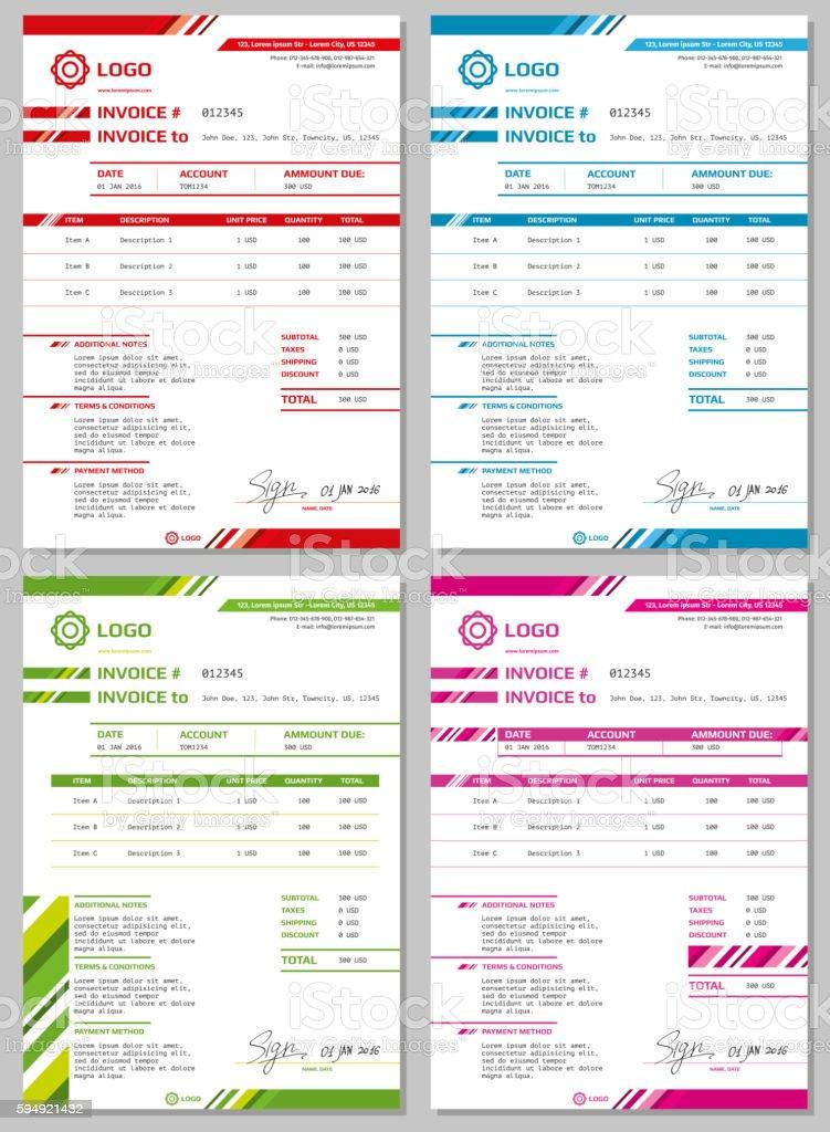 Vector Invoice templates set vector art illustration