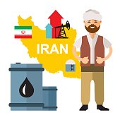 Vector Iran Oil Industry. Flat style colorful Cartoon illustration.