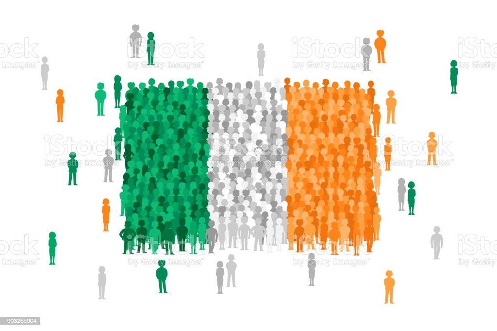 Vektor Irland Staatsflagge von Cartoon Menschenmenge gebildet – Vektorgrafik