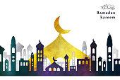 Vector islamic city background for Ramadan Kareem. Concept of Happy Ramadan Kareem.