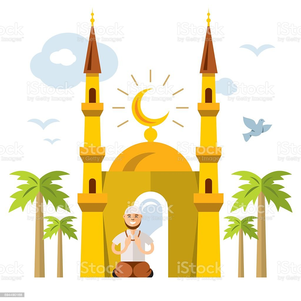 Vector Islamic Prayer. Flat style colorful Cartoon illustration. vector art illustration
