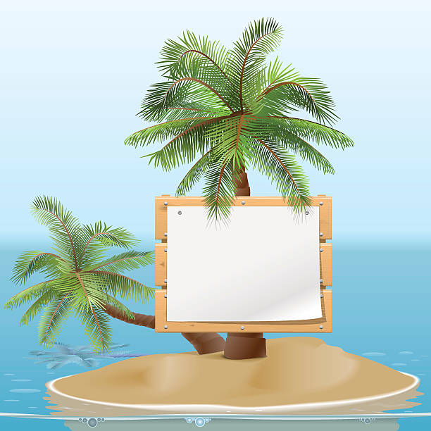 stockillustraties, clipart, cartoons en iconen met vector island with signboard - newspaper beach