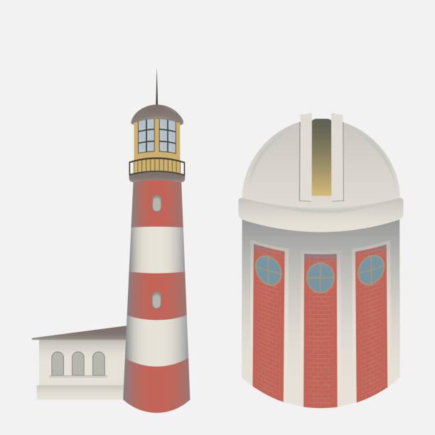 vektor isoliert auf weißem hintergrund, der leuchtturm und das observatorium - sternwarte stock-grafiken, -clipart, -cartoons und -symbole