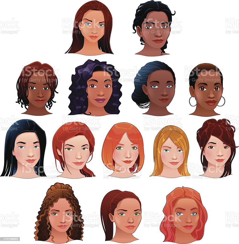 Vector isolated avatars. vector art illustration