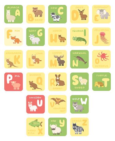 Vector isolated A-Z zoo alphabet cartoon animals education cards. Alpaca bear cow deer elephant fox goat horse iguana jellyfish kangaroo lynx moose octopus pig quokka rabbit sheep turtle unicorn bat