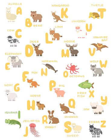 Vector isolated A-Z zoo alphabet cartoon animals education poster. Alpaca bear cow deer elephant fox goat horse iguana jellyfish kangaroo lynx moose octopus pig quokka rabbit sheep turtle unicorn bat