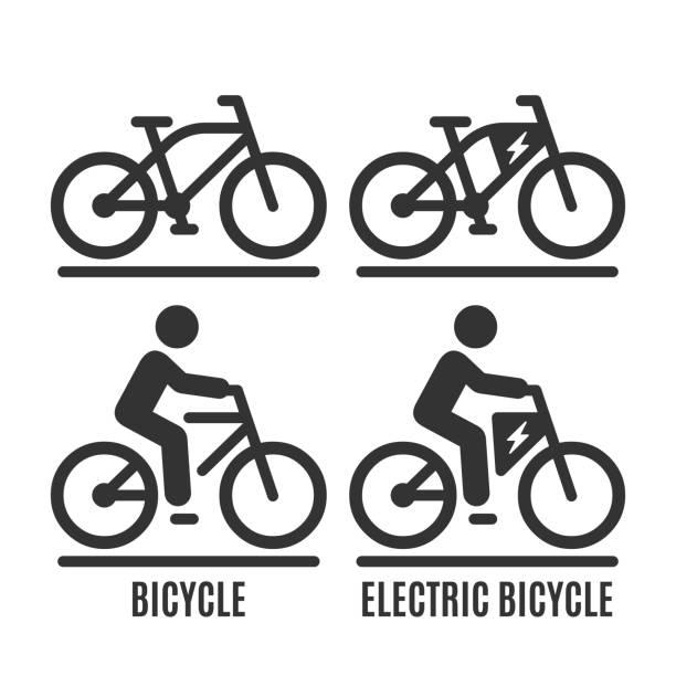 illustrazioni stock, clip art, cartoni animati e icone di tendenza di icona vettoriale isolata per biciclette e bici elettriche. pedala senza essere umano e con il simbolo della silhouette del ciclista su strada. - ciclismo