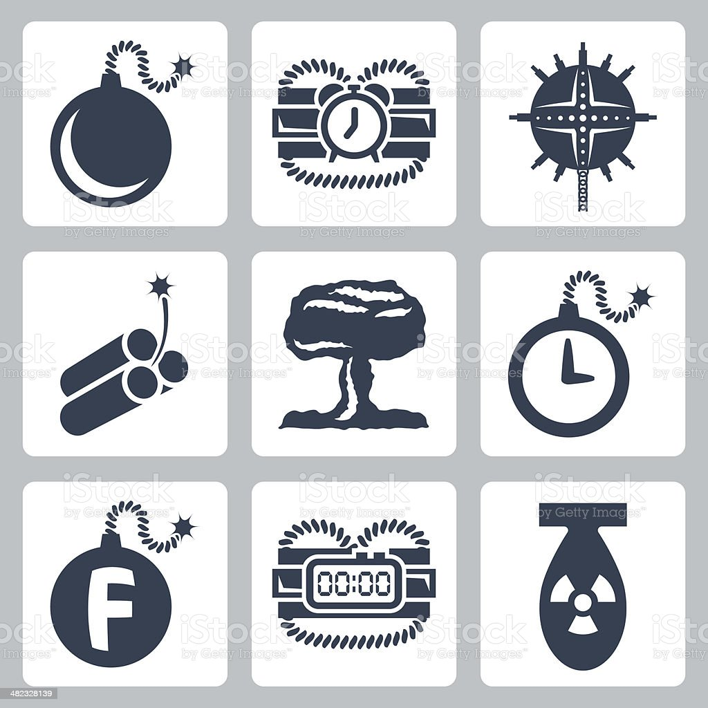 Vector isolated bombs icons set vector art illustration
