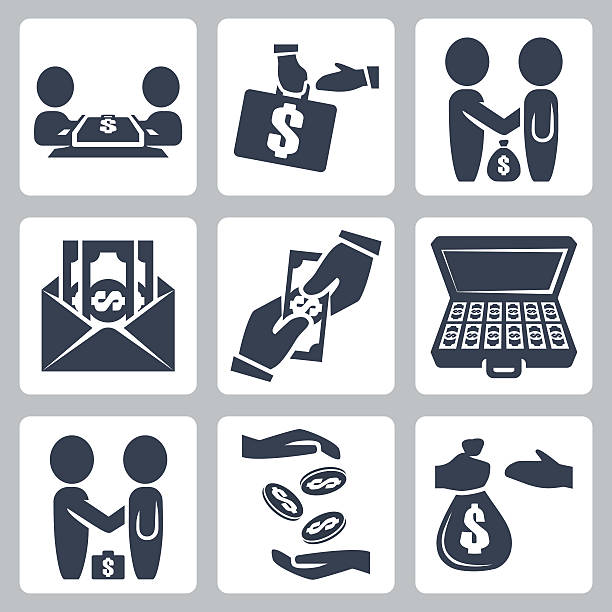 Vector isolated bribe/bargain icons set Vector isolated bribe/bargain icons set bribing stock illustrations