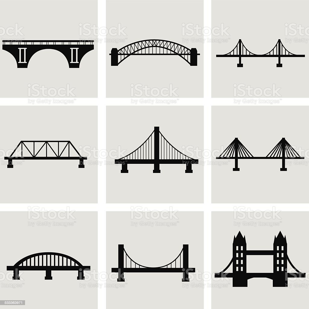 Vector isolated bridges big icons set vector art illustration