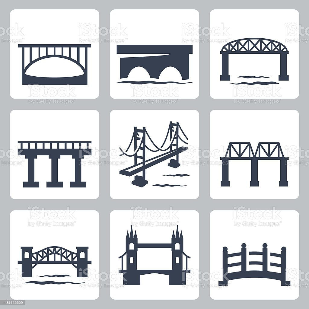Vector isolated bridges icons set vector art illustration