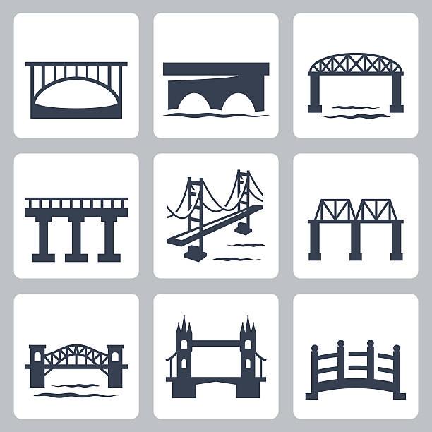 Vector isolated bridges icons set vector art illustration