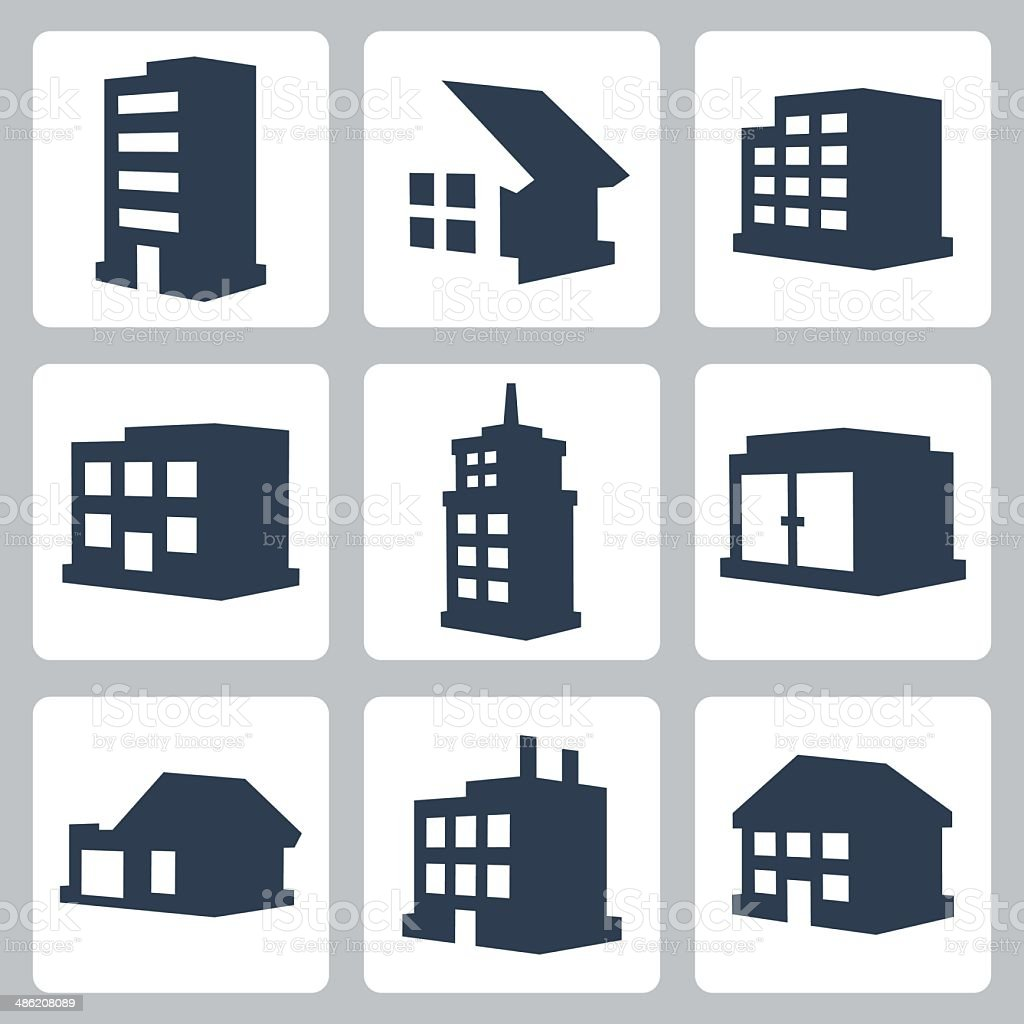 Vector isolated buildings icons set vector art illustration