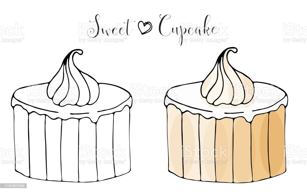 Vektor Izole Kek Veya Cupcake Tatli Boyama Stok Vektor Sanati