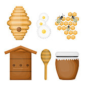 Vector isolated cartoon set of honey products and equipment on white background.