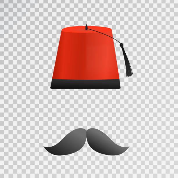 Vectores dibujos animados aislados Turco sombrero Fez y bigote en el fondo  transparente para la decoración 838e071044a