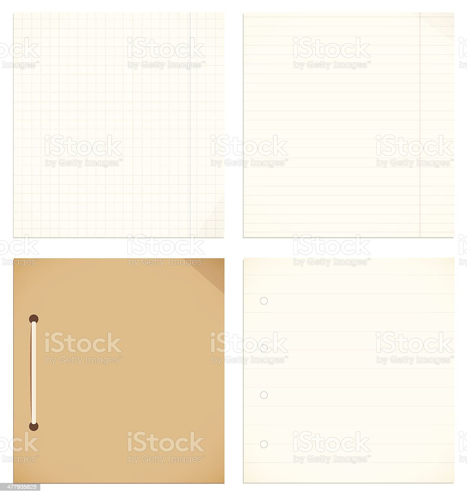 Vector isolated collection of notebook, copybook leaves vector art illustration
