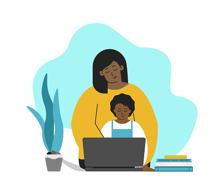 Vector isolated concept in flat style. African American mother and kid are sitting with laptop. Online education with class in quarantine time, making homework with parent's help. Home schooling