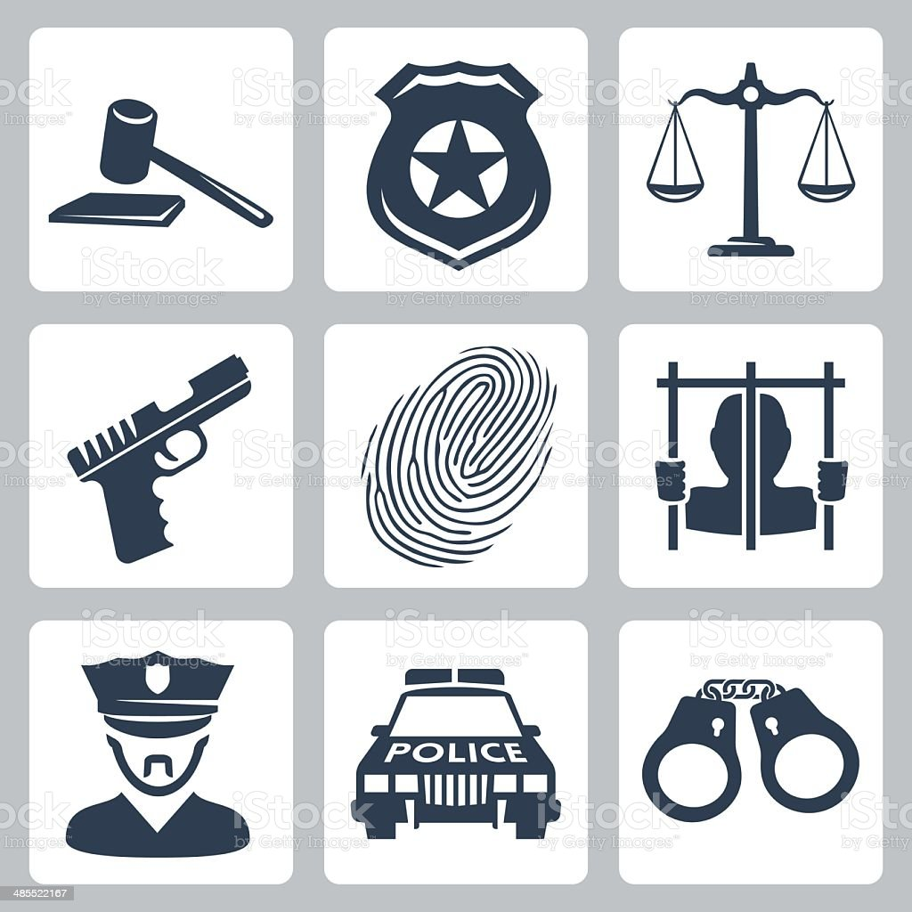 Vector isolated criminal/police icons set vector art illustration