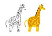 Vector isolated. Cute baby giraffe illustration.