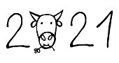 Vector isolated element,  lettering for the upcoming new year, the year of the bull. Hand drawn doodle.