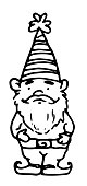 istock Vector isolated element of a garden gnome in a hat with stripes and a beard, drawn by hand in a sketch style with a black line on a white background. decorative ceramic dwarf doodle drawing for design template 1313256150