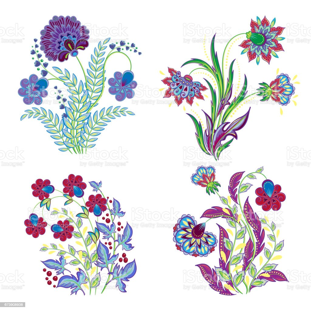 Ilustración de Vector Aislado Conjunto De Decoraciones De Flores ...
