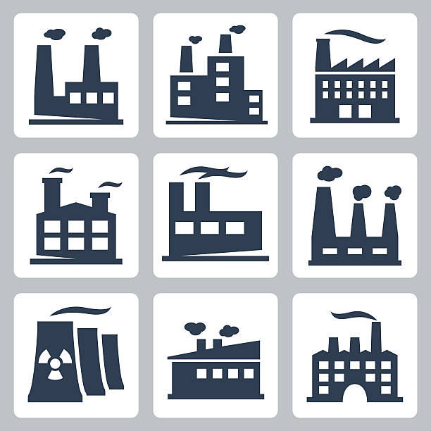 vektor isoliert fabrik-icons set - metallverarbeitung stock-grafiken, -clipart, -cartoons und -symbole