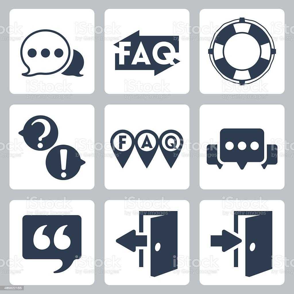 Vector isolated faq/info icons set vector art illustration