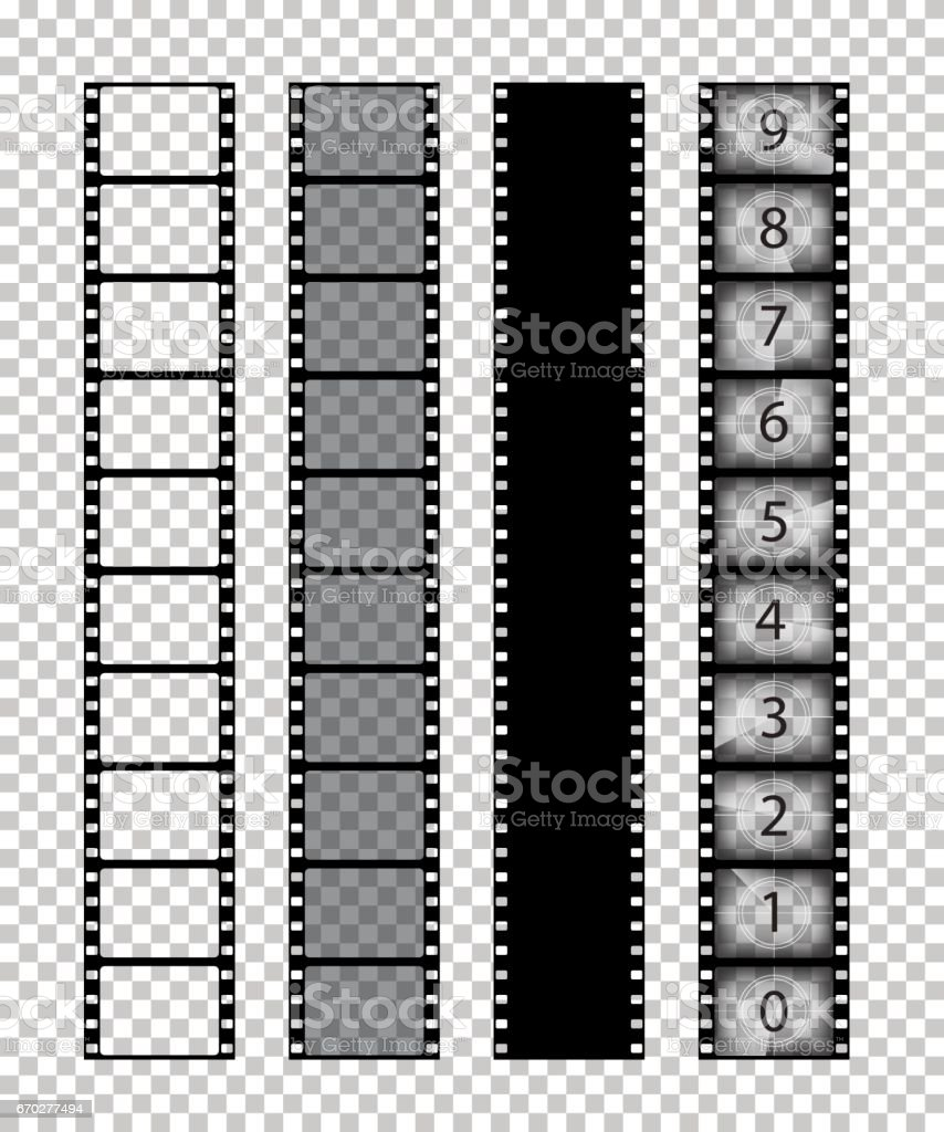 Vector isolated film strips on transparent background. vector art illustration