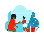 Vector isolated flat concept about winter holidays. Happy african american woman gives gift to cute little girl. Mother sits near daughter. Home is decorated with present boxes and Christmas Tree