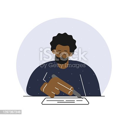 Vector isolated flat concept. African American man sits at table, holds pen and writes text on white paper. Design with cartoon character signed contract, report or mortgage document to get credit