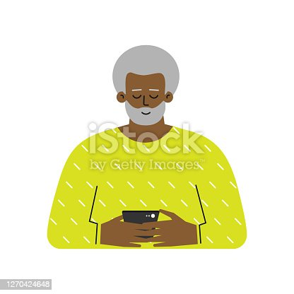 Vector isolated flat concept. Cartoon African American senior man writes a message on the phone. Elderly grandfather used modern gadgets. He search woman for relationship by mobile apps. Online dating