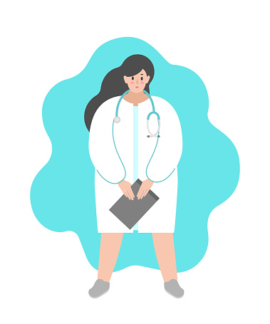 Vector isolated flat illustration. Cartoon woman is doctor and stays in white medical gown and stethoscope.  Friendly professional physician holds board folder for notes and diagnostics of patients
