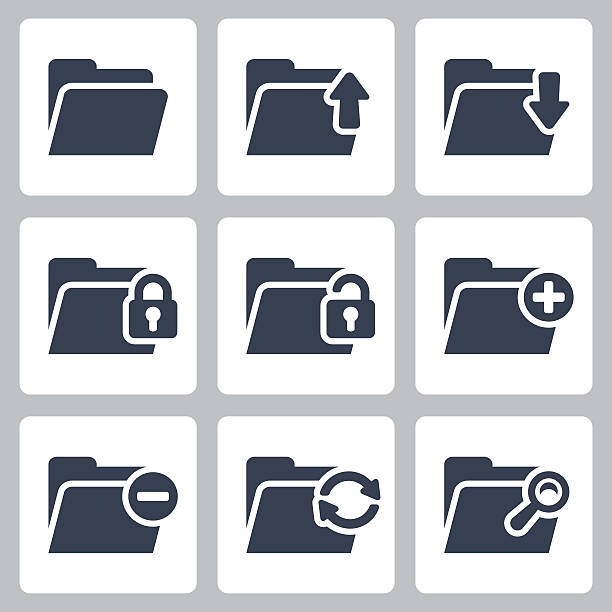 vector isolated folder icons set - folder stock illustrations, clip art, cartoons, & icons