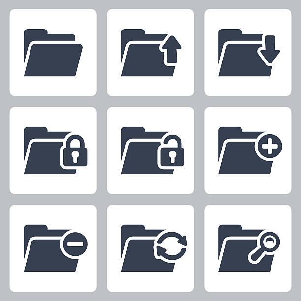 stockillustraties, clipart, cartoons en iconen met vector isolated folder icons set - dossier