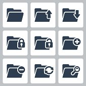 Vector isolated folder icons set