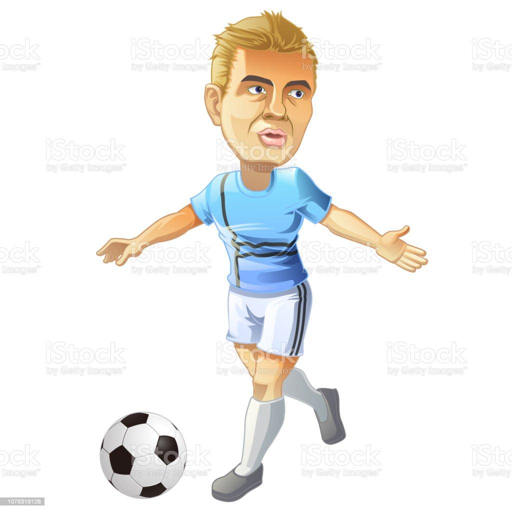 Vector isolado o personagem do jogador de futebol e bola no estilo cartoon. - ilustração de arte em vetor