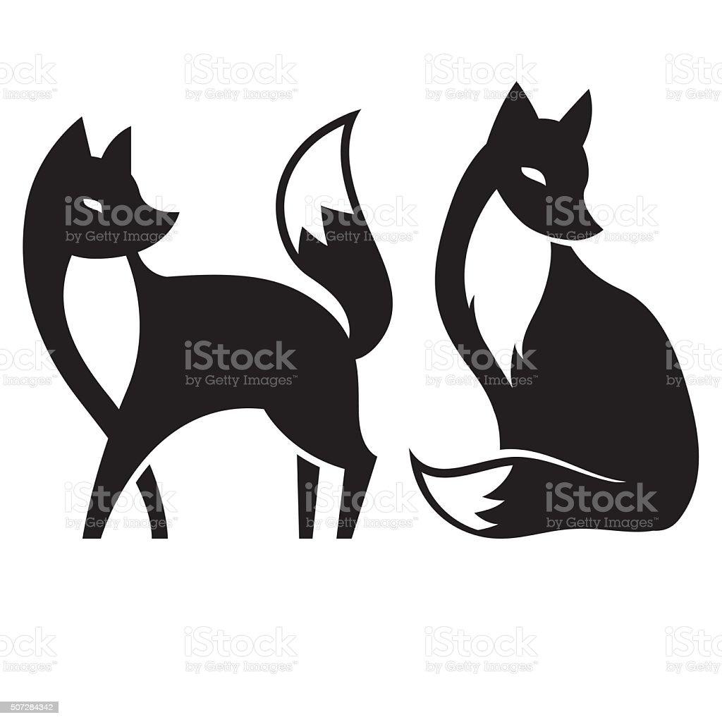 Vector de aislado Fox. blanco y negro - ilustración de arte vectorial