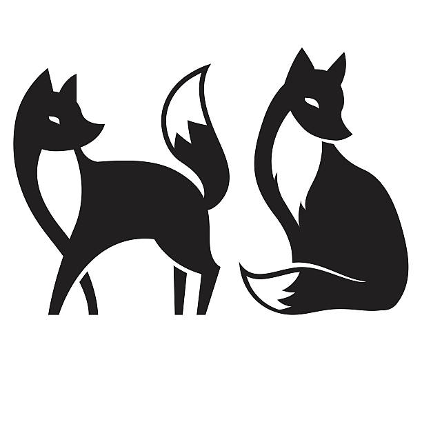 vector isolated fox. black and white vector art illustration
