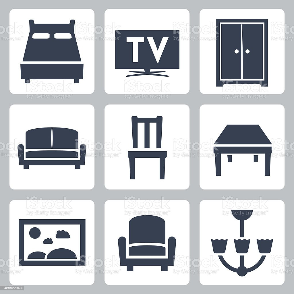 Vector isolated furniture icons set vector art illustration
