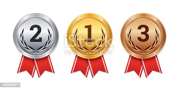 Vector isolated gold, silver and bronze medals, champion prizes, winner awards.