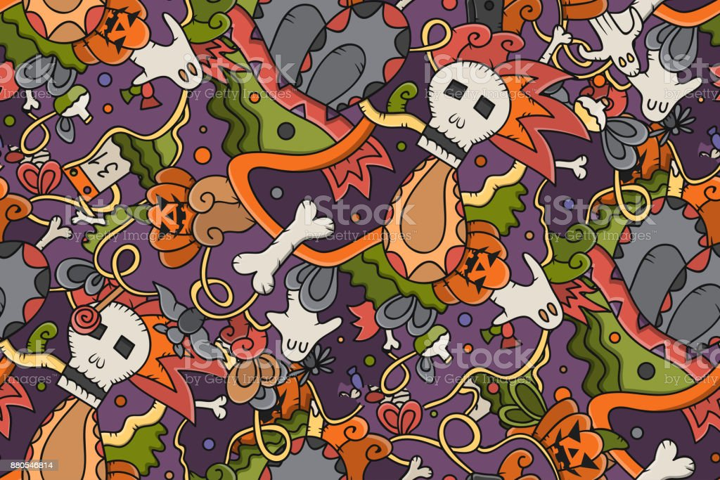 Vector isolated hand drawn doodle seamless pattern of Halloween for cover design, gift wrapping paper and branding. Concept of Happy Halloween. vector art illustration