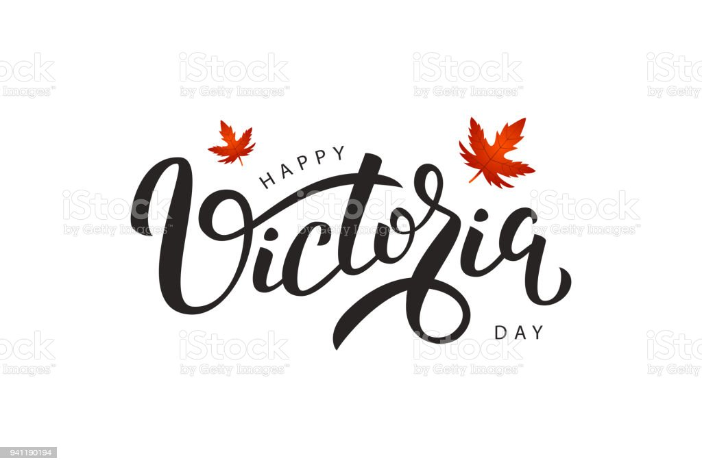 Vector isolated handwritten lettering for Victoria Day with realistic red maple leaves. Vector typography for greeting card, decoration and covering. Concept of Happy Victoria Day in Canada. vector art illustration