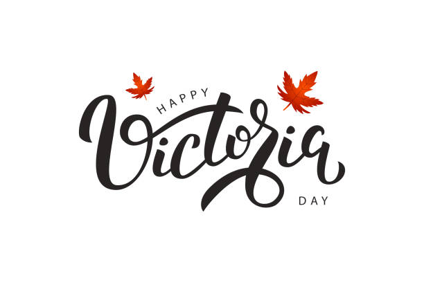 Vector isolated handwritten lettering for Victoria Day with realistic red maple leaves. Vector typography for greeting card, decoration and covering. Concept of Happy Victoria Day in Canada. Vector isolated handwritten lettering for Victoria Day with realistic red maple leaves. Vector typography for greeting card, decoration and covering. Concept of Happy Victoria Day in Canada. british columbia stock illustrations
