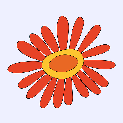 vector isolated hippie flower chamomile.A rainbow plant in the hippie style of the 60s and 70s.An element for a botanical pattern.Psychedelic wildflower bud.summer sticker.Childish hand drawn style.