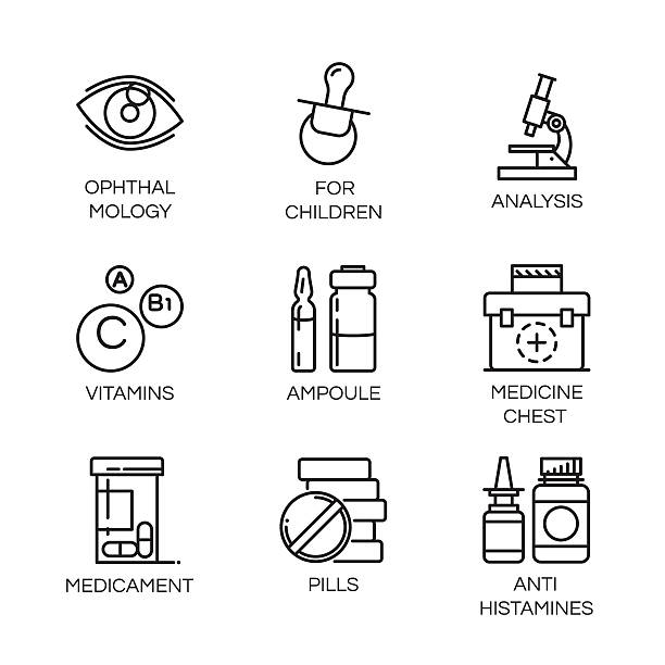 Vector isolated icons of health theme in outline style Set of nine vector isolated icons drawn in outline style. Diagnosis, treatment and healthy lifestyle concept. Line logo for websites, mobile apps and other design needs. Contour pictograph antihistamine stock illustrations