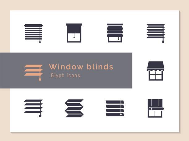 wektor izolowane ikony zestaw rolet okiennych ikony glifów wektorowych - store stock illustrations