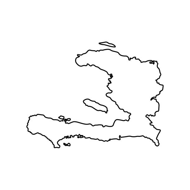 Vector isolated illustration icon with black line silhouette of simplified map of Haïti Vector isolated illustration icon with black line silhouette of simplified map of Haïti. drawing of a haiti map stock illustrations